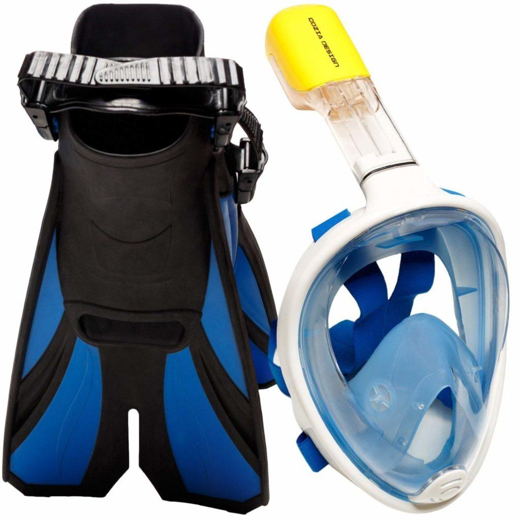 Cozia Design Snorkel Set with Full-Face Snorkel Mask and Swim Fins